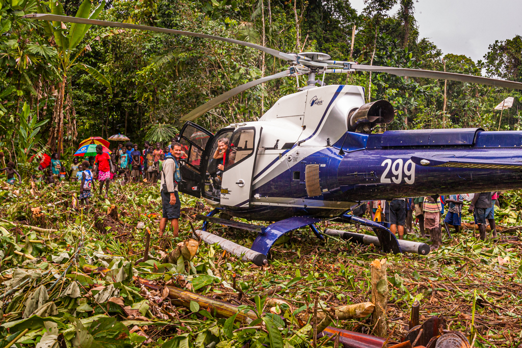 True North Team & Helicopter with People of Bougainville