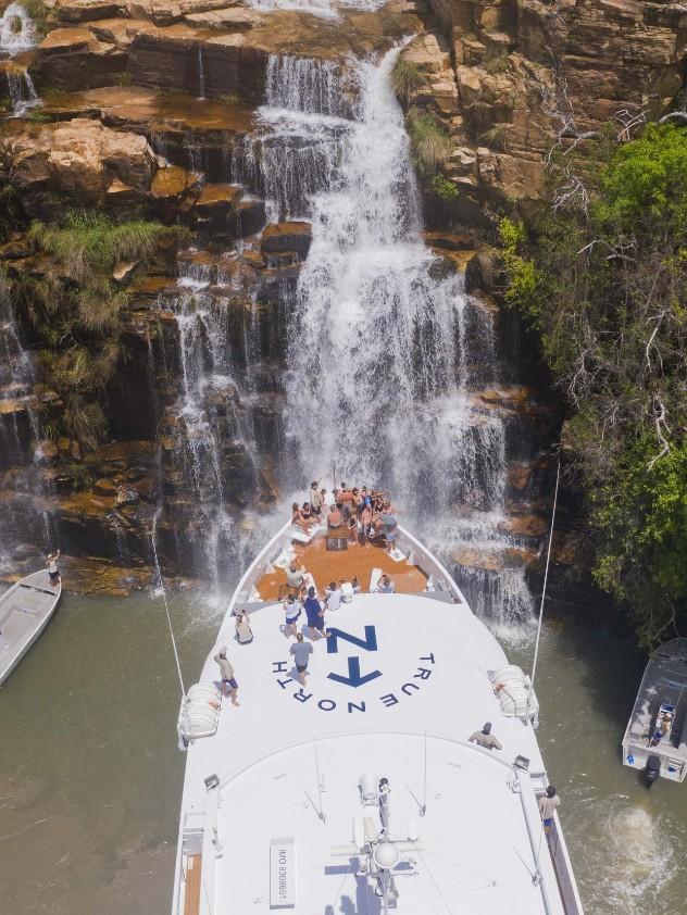 True North Adventures cruises at Kimberley waterfalls